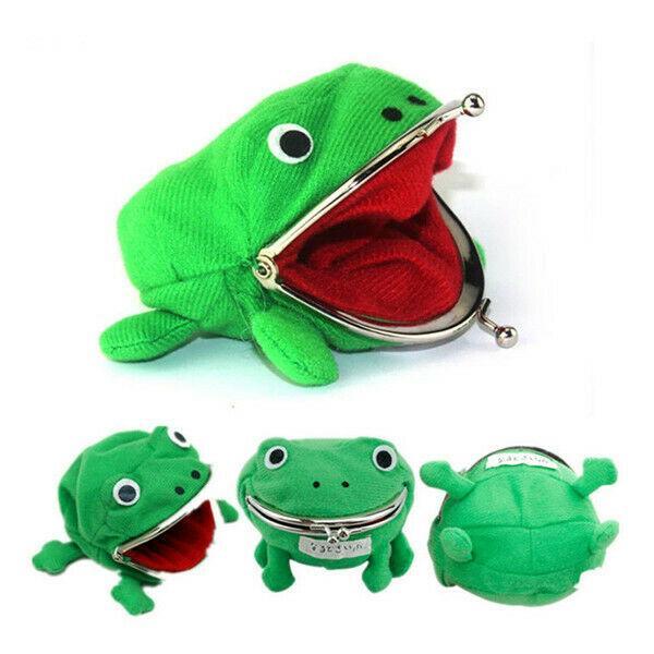 1 шт. лягушка форма косплей зеленый животных сумка портмоне кошелек мягкий пушистый плюшевый кошелек подарок смарт-кошелек мини тонкий кошелек для карт фото