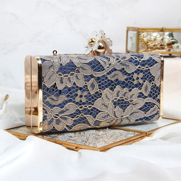 lace-patterned lady's handbag women elegant fashion flower clutch purse party socialite dress pochette evening bag casual girl (492128881) photo