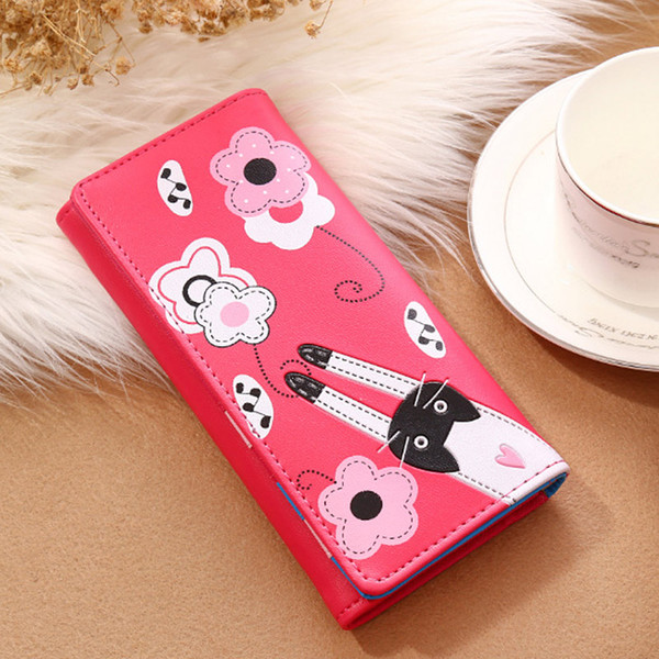 women lady girl wallet purse long cat pattern buckle pu leather for money card coin msj99 (466237732) photo