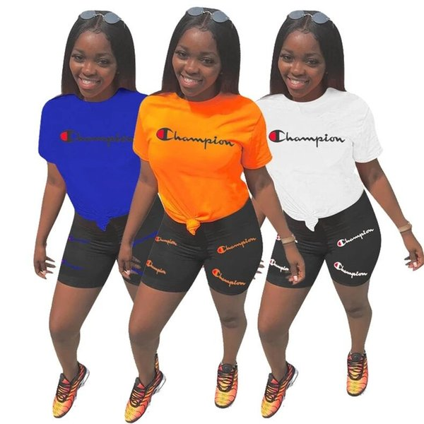 Champion brand women track uit two piece outfit hort leeve t hirt ummer hort women de igner port jogger uit 3xl 2019 a42203