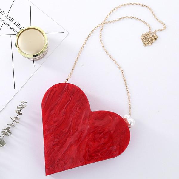 unique designer acrylic clutch fashion cute red heart shape pearl chain party evening bag women shoulder bags handbag purses (498970858) photo