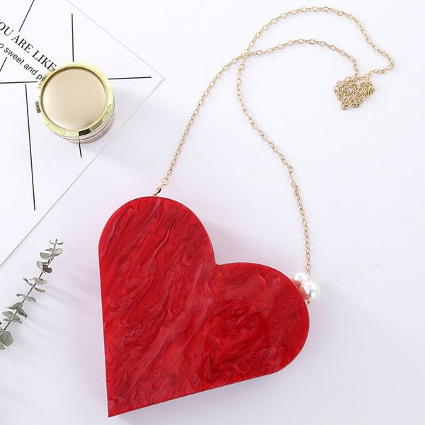 unique designer acrylic clutch fashion cute red heart shape pearl chain party evening bag women shoulder bags handbag purses (519408888) photo