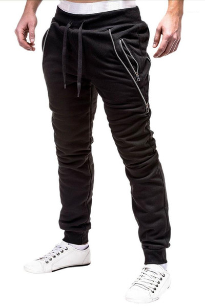 Pencil Pants Mens Washed Pants with Zipper Ripped Mens Designer Jeans Fashion Black