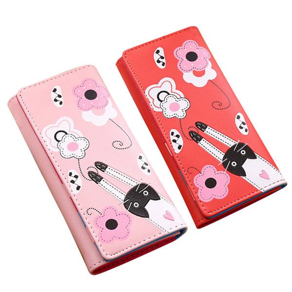 women lady girl wallet purse long cat pattern buckle pu leather for money card coin ka-best (466238147) photo