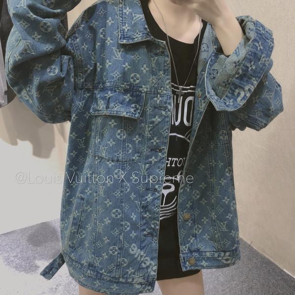 2020 Women denim jacket trendy fashion four seasons washed jacquard fabric loose classic printed size M-L-XL couple jackets