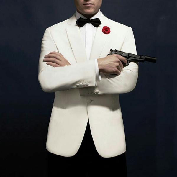 Слоновая кость мужские костюмы для свадебных костюмов черные брюки лучший мужчина пиджак смокинги для жениха Slim Fit терно мужского костюма Homme Trajes de Hombre 2шт фото