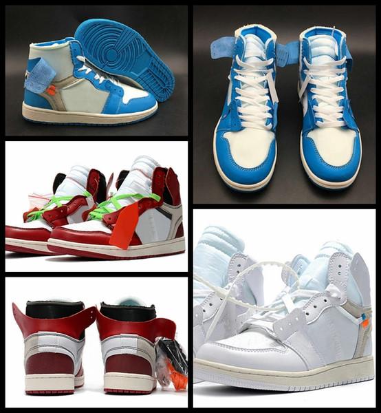 Высокое качество 1 белый порошок синий баскетбол обувь для мужчин 10X Chicago Bred 1S MENS OFF фото