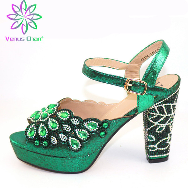 green italian woman sandals shoes without purse set african mature high heels shoes for wedding party (540780584) photo