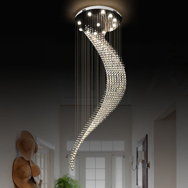 Large moon hape cry tal chandelier light fixture modern lamp for living room hotel hall indoor decoration long tair pendant lamp