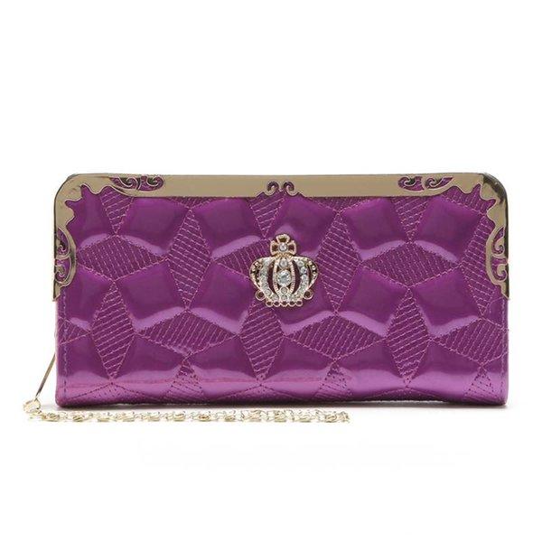 women wallet purse fashion long wallets metal edge chain gold crown metal design pressure line geometric patterns girl gift (498269923) photo