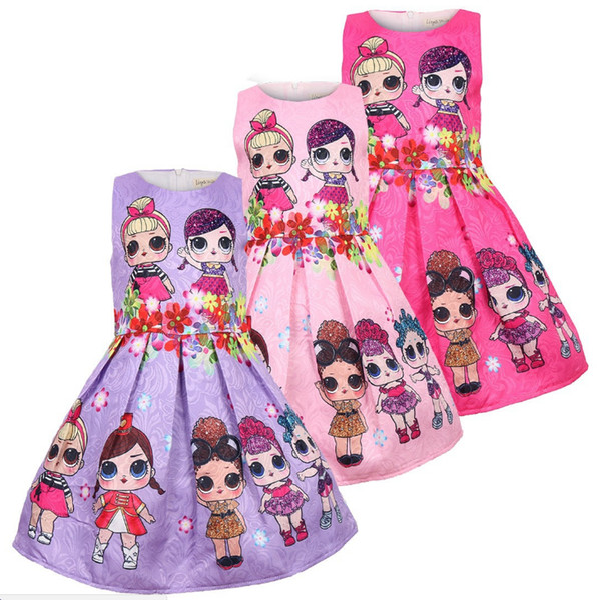 Baby Dresses 3-7Y Summer Cute Elegant Dress Kids Party Christmas Costumes Children Clothes Princess Lol Girls Dress