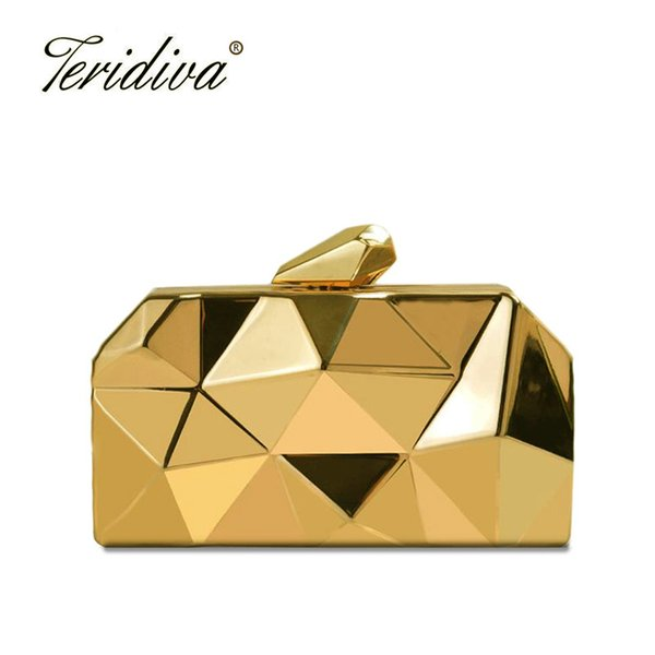 teridiva fashion women evening bag geometric 3d metal lady evening clutch purses luxury day clutches for party handbag wallet (492680554) photo