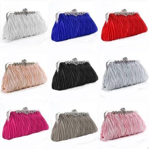 fashion lady party wedding handbag purse girl soft evening bag bridal women satin crystal clutch (547487882) photo