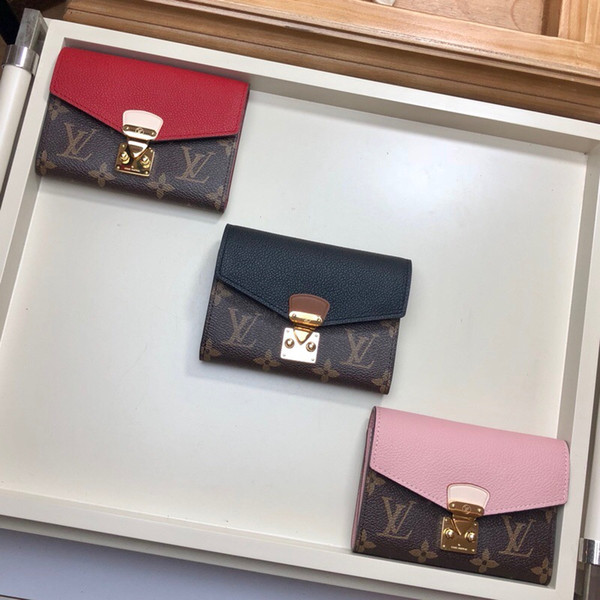 2018 классический натуральная кожа женщин кошелек с коробкой портмоне дата код кор