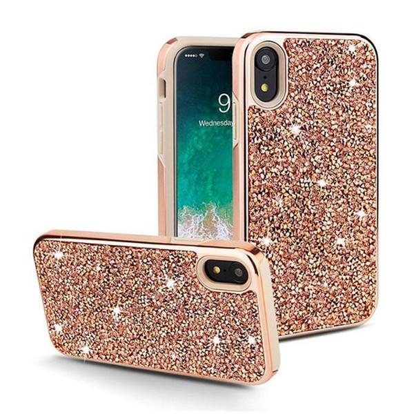 Bling diamond rhine tone 2in1 pc tpu glitter phone ca e for iphone xr x  max x 8 7 6  am ung note 9  10  10 plu  note 10 note 10 plu