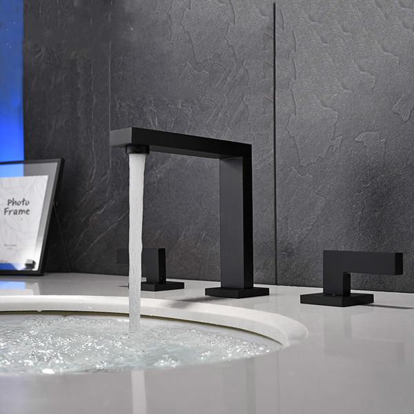 Смеситель для раковины в ванной на палубе Смеситель для двойной ручки черный Смеситель для раковины Смеситель для горячей и холодной воды для душа фото