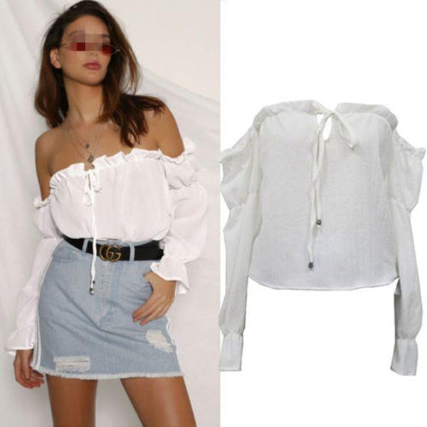 Новые летние женщины Дамы с плеча Богемия блузка пляжная блузка сексуальная женская сексуальная топы и блузка женская рубашка горячая продажа челнок фото