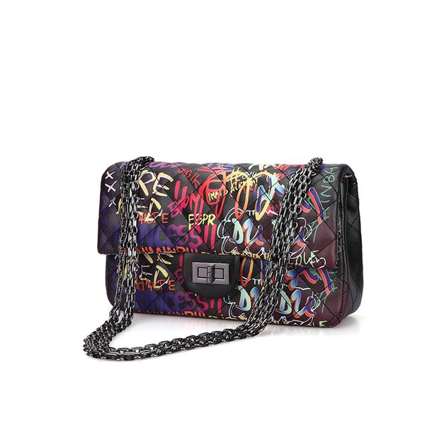 fashion graffiti handbag 2020 new purses and handbags handbags women bags chains shoulder bags for women purses (546541123) photo