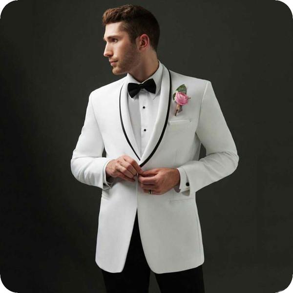 Выполненный на заказ белый жених смокинги мужские костюмы дизайн мужской костюм свадебные мужские пиджаки мода одна пуговица пуховик платок отворот 2 шт (пальто + брюки) фото