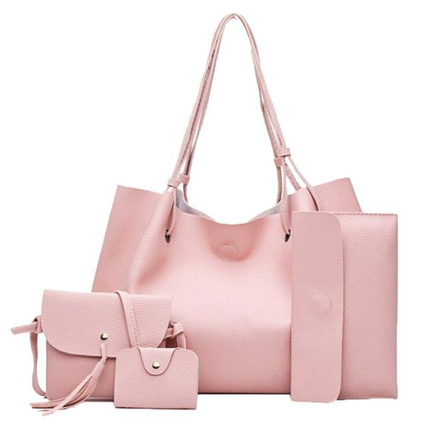 4pcs woman bag set fashion female purse and handbag four-piece shoulder bag tote messenger purse pu woman wallet #r20 (527502352) photo