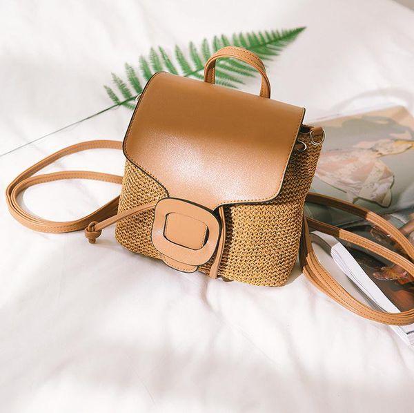 fashion rattan bakcpacks casual women straw backpack handmade weave school bags for teenager wicker summer beach travel purses (502034921) photo