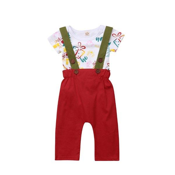 newborn infant christmas baby clothing set kids girl cartoon +suspender pants casual fashion children's set
