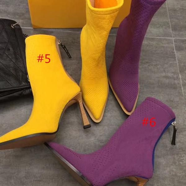 Модные высококачественные остроконечные вязаные сапоги сексуальные женские туф фото