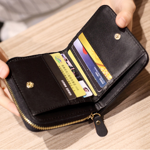 2019 new style wallet women's short korean-style fashion small fresh diamond-quilted embroidered 2 discount women's purse wallet (500405217) photo