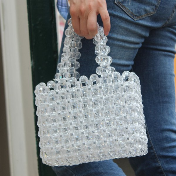 loli sweet hollow beads basket tote bags for girls clear beads handmade weave pink handbags japanese korean women luxury purses (494635274) photo