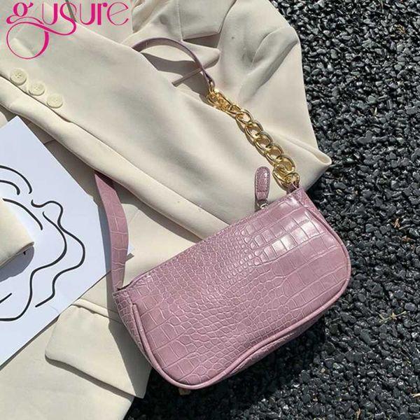 gusure women's shoulder bags alligator pattern purse french baguette girls handbags gold chains vintage pu leather underarm bags (555563753) photo