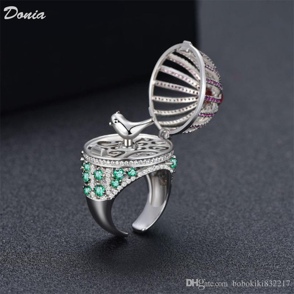 Donia jewelry ring fashion birdcage full of zircon rings european and american creative rings men and women hand gifts