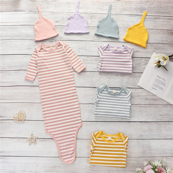 0-1y Baby Girl Boy Sleeping Bags Hat 2pcs Soft Striped Newborn Swaddle Blanket Wrap Cotton Sets For Baby