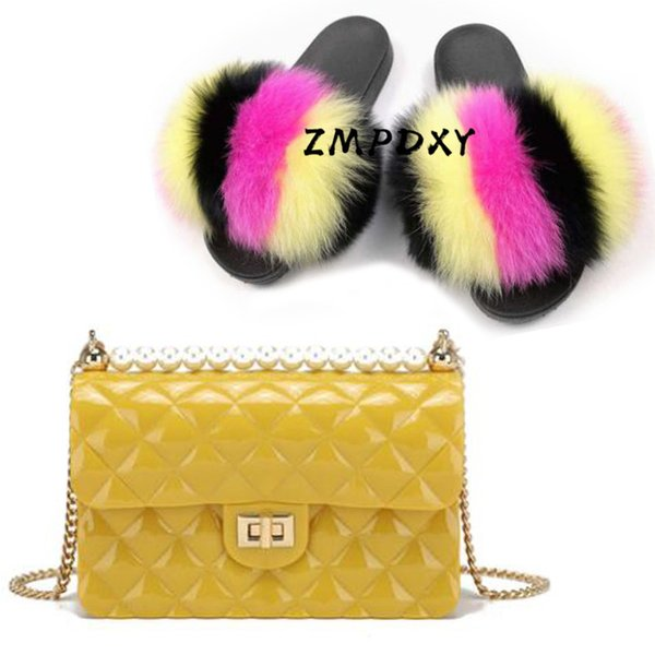 ladies real fur slippers women's crossbody phone purse woman fluffy slides plush sandals jelly modern shoulder shoes sets (559369575) photo