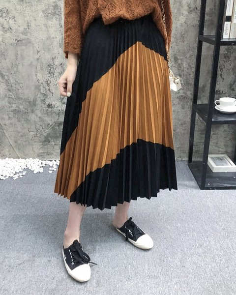 0Ayey D1WF-2267 women's 2019 new high waist matching suede stitching pleated skirt D1wf-2267 women's 2019 color flip fur st new color flip f