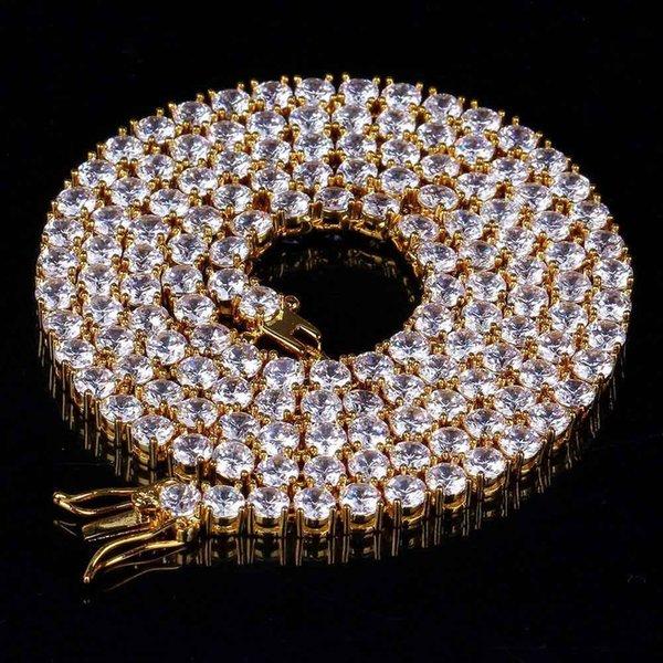 20inch, 24inch хип-хоп цепи ожерелье Все Iced Out 1 Row 4 мм Micro Pave CZ камни ожерелья Punk Rock ювелирные изделия