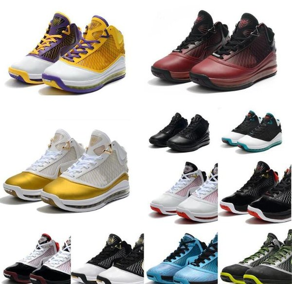 New mens James Lebron 7 basketball shoes retro Christmas Red Lakering Yellow Gold Black Blue Bred 2k20 lebrons vii 17 sneakers tennis