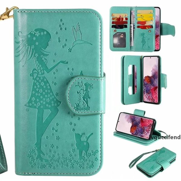 multifunction leather wallet case for samsung galaxy s20 ultra s20 plus s20 id 9 card girl mirror flip cover flower holder pouch purse (562417640) photo