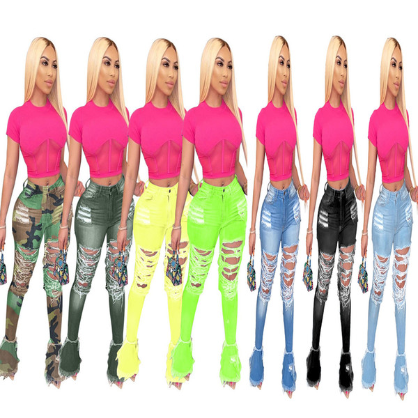 7 colors Women Denim Flared Long Pants Bell Bottom Jeans Trousers Sexy Hole Ripped Full Length Leggings Bodycon Streetwear Clothing DHL