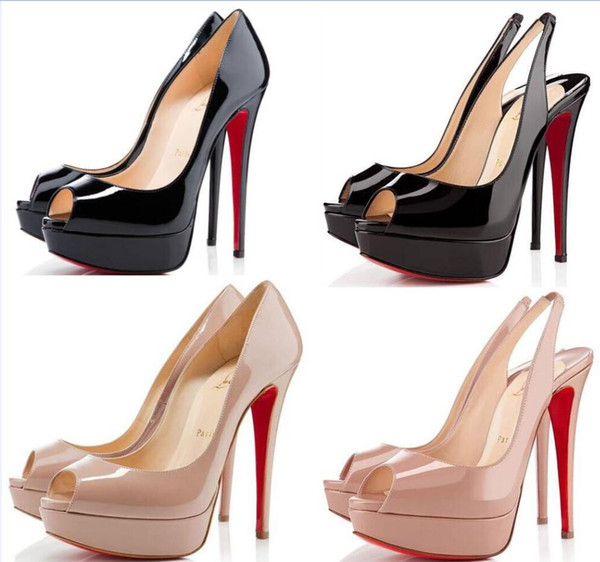 14cm Heels Brand women Red Bottoms High Heels Sexy Peep-toe Platform Red Sole Shoes Women Pumps High-heeled Party Shoes size 34-43