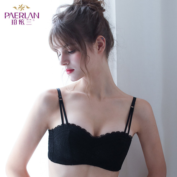 PAERLAN Push Up Seamless Sexy Lace Bra Small Breast 1/2 Half Cup Wire Free On Wedding Dress Underwear