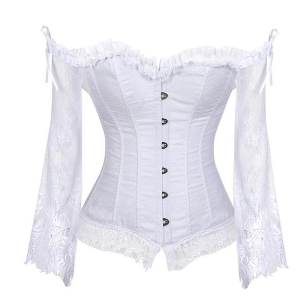 Plus Size Women Steampunk Corset Blouse Sexy Long Sleeve Lace Corselet Lace Up Bustiers Top Victorian Club Wedding Party Shirts