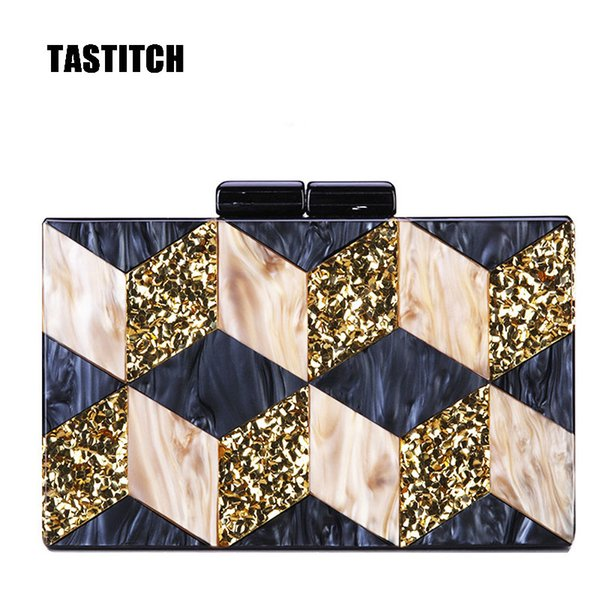 unique mosaic acrylic bag glitter evening clutch bag women should bags geometric patchwork clutches party prom handbags purses (562600877) photo