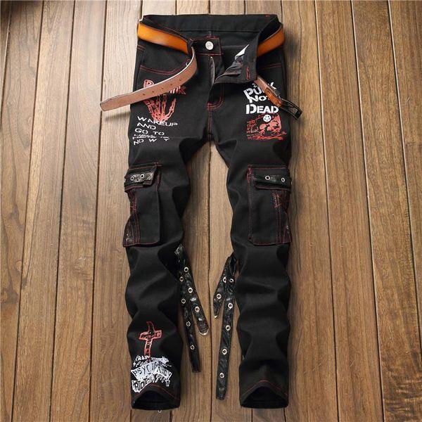 New Men's Denim Jeans Men's Pants Moto Jeans Slim Fit Straight Denim Pants Distressed Trousers