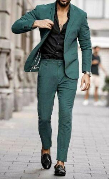 Causal terno masculino Men Green Notch Lapel Men Suit Tuxedo Formal Wedding Prom Suit Custom Groomman derss (jacket+pants)