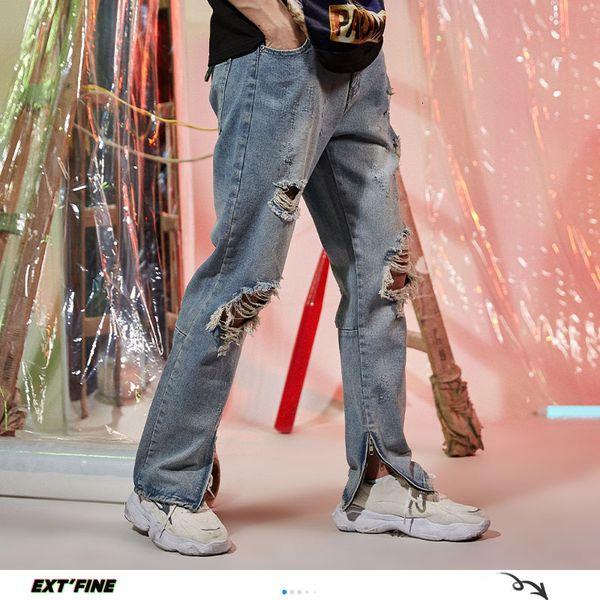 ExtFination   News Man Straight Wide Leg Jeans Mans 2020 Summer Fashion Ripped Denim Pants Male Vintage Hip Hop Pants Bottoms