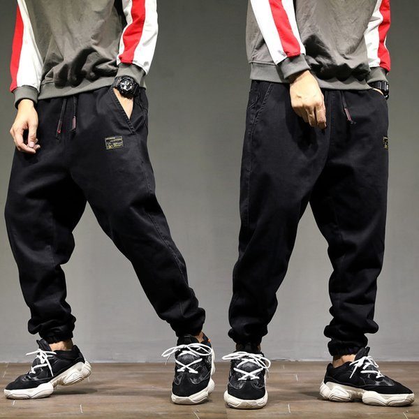 Fashion Streetwear Men Jeans Black Loose Fit Casual Denim Cargo Pants Harem Trousers Japanese Vintage Designer Hip Hop Jeans Men