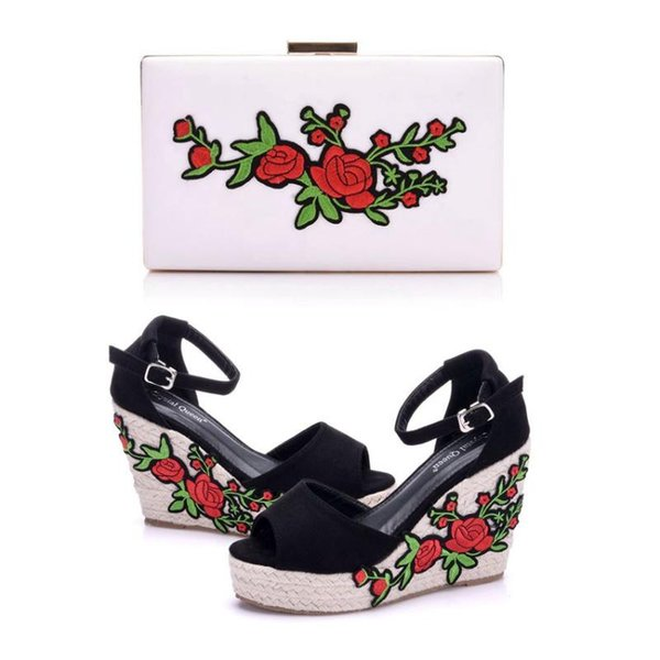crystal woman sandals shoes bohemian sandals comfortable sweet wedge heels shoes for girls with matching bags with purse (555633174) photo