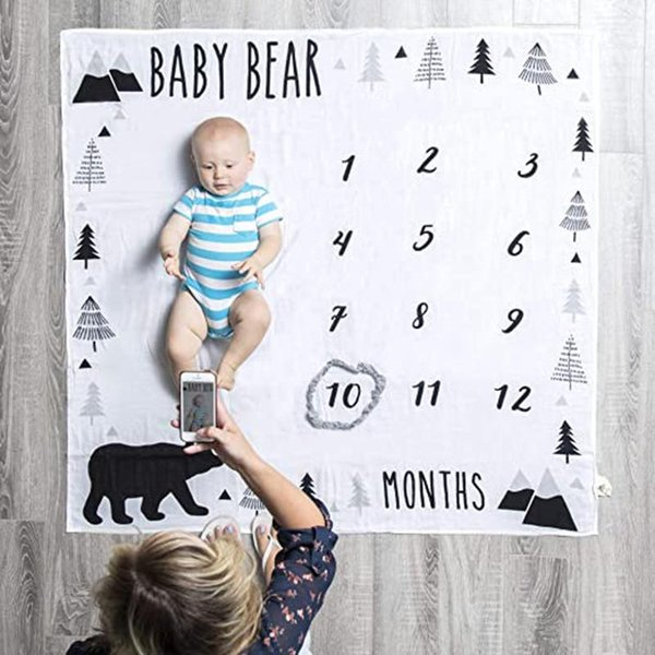 0-12m Baby Milestone Blanket Monthly Baby Blankets Newborn Soft Pgraphy Props Background Blanket Carpet