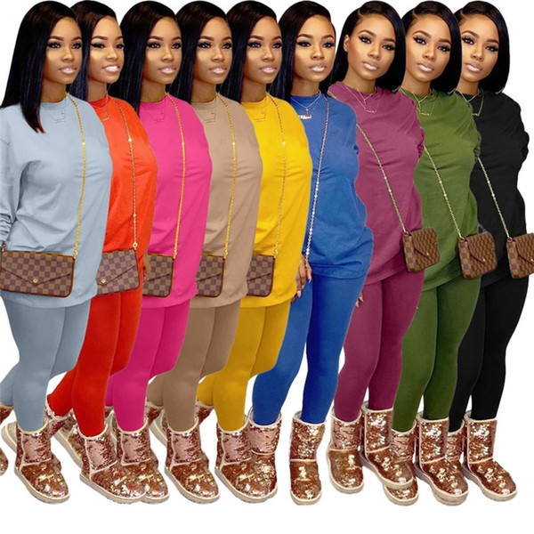 Plus size Women Tracksuit solid color outfits casual 2 piece sets long sleeve shirt+leggings fall witer clothing sports jogger suit 3606