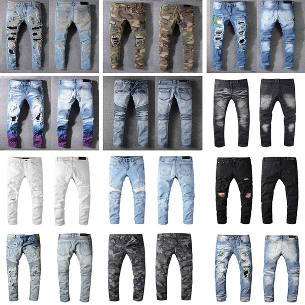 Distressed France Fashion Pierre Straight Jeans Men's Biker Jeans Hole Stretch Denim Casual Jean Men Skinny Pants Elasticity Ripped Trousers
